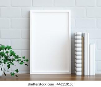 Mock up poster frame on the table, 3D render