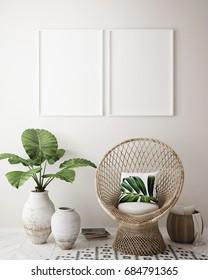 mock up poster frame in tropical interior background, modern Caribbean style, 3D illustration