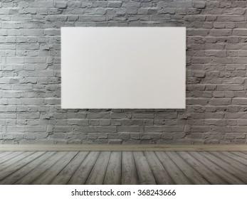 mock up poster frames in background brick wall grey color. 3D render