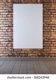 mock up poster frames in background brick wall red color. 3D render