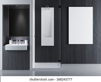 mock up poster frames in interior bathroom Contemporary style. bathroom in gray and white colors. 3D render.