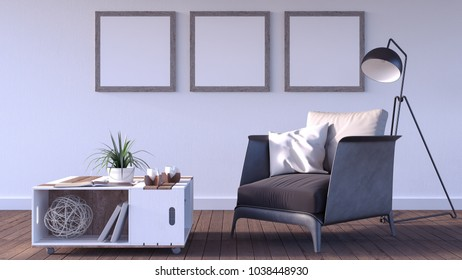 Mock up poster, hipster living room, 3d render 3d illustration