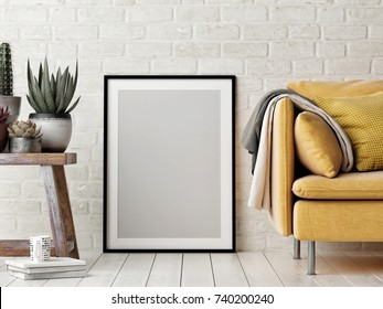 Mock up poster, interior composition, sofa, wood chair, flower and white poster, 3d render, 3d illustration