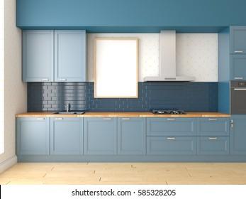 Mock up poster, kitchen scene, interior, 3d rendering