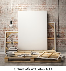mock up posters frames and canvas in vintage hipster loft interior background, 3D render