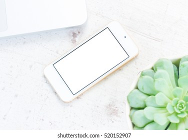 Mock up styled flat lay scene with white laptop, plant and phone, copy space on blank screen