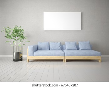 Mock up a stylish living room with a comfortable sofa and a large empty frame, 3d rendering.