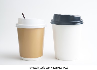 Mock up of takeaway cups on white background