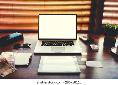 Mock up of technology devices with blank copy space screen for your text message or publicity content, electronic business and distance work concept, workspace with laptop computer and digital tablet