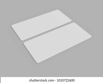 Mock up template blank white empty rounded corners gift voucher card on the grey background. For graphic design or presentation, 3D rendering illustration.