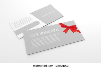 Mock up template gift voucher card with red ribbon on the white background. For graphic design or presentation, 3D rendering illustration.