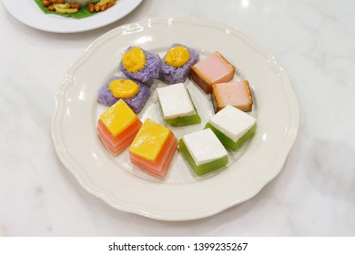 mock up of traditional Asian nyonya sweet cake dessert of various types