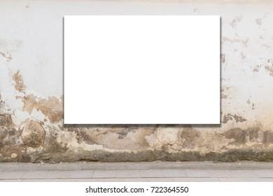 Mock up. Blank billboard, advertising, public information board on old grunge wall in the city.