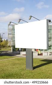Mock up. Blank billboard outdoors, outdoor advertising, public information board in city