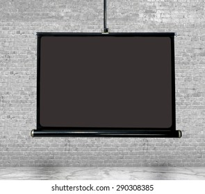 mock up, blank poster  projection screen over white brick wall