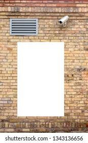 Mock up. Blank vertical billboard, signboard outdoors, public information board on old brick wall