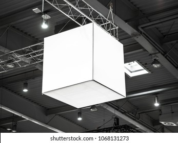 Mock up. Indoor advertising at the fair, event, Public information board hanging of empty white mock up signage. Cubic, squared, box 360 degrees.