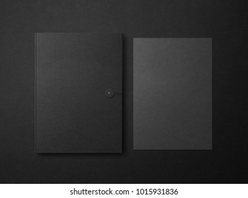 Mock up. Template for branding identity. Blank objects for placing your design. Sheets of paper and folder on a black background. 3d illustration.