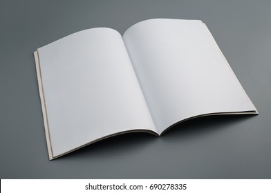 Mock up used magazine on gray background (Focus Stacking, entire book is in focus)