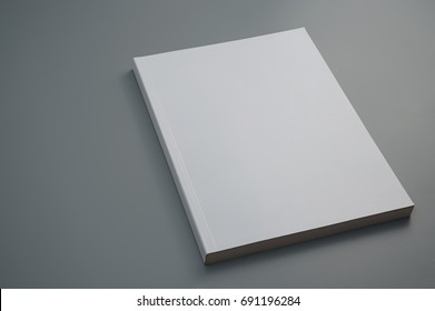 Mock up used magazine on gray background (Focus Stacking, entire magazine is in focus)