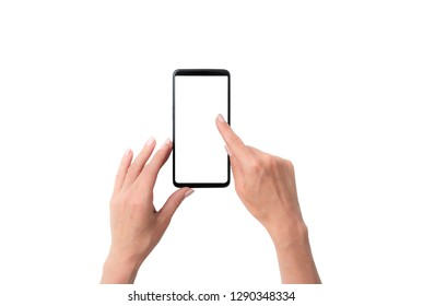 Mock up of user hands with black smartphone isolated on a white background
