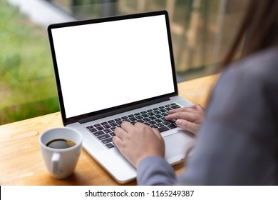mock up Using laptop with blank screen computer modern