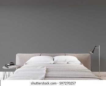 Mock up wall bedroom interior. Scandinavian style interior. 3d rendering