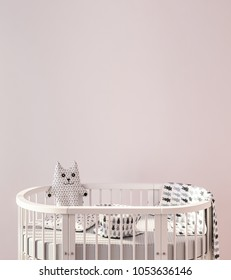 Mock up wall with child crib 3d rendering