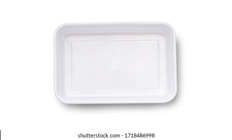 Mock up white square  Food box , for delivery or take away, plastic box's  top view on white isolate background