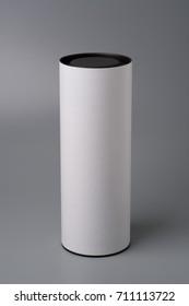 Mock up white tube box on gray background