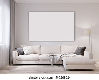 Mock up white wall modern living room interior. Scandinavian style interior. 3d rendering