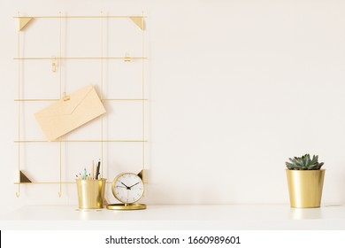 Mock up of woman workplace on light background.
