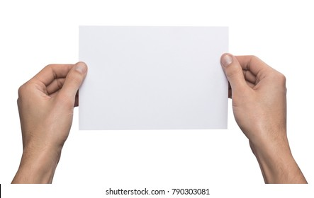 Mockup A5 letter horizontally empty blank white holds the man in his hand. Isolated on a white background