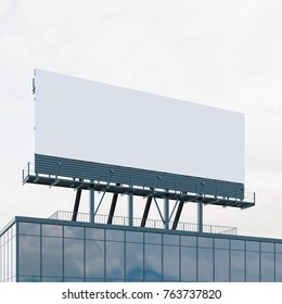 Mockup of billboard on the roof. Bussines commercial. 3d rendering