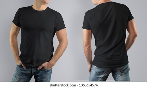 black tshirt mock up front back stock photo edit now 657275458