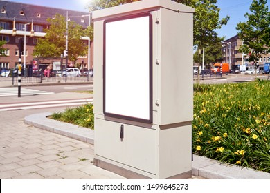 Mockup of a blank empty white advertising urban billboard, placeholder template on tram stop, space for design layout.