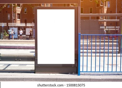 Mockup of a blank empty white advertising urban billboard, placeholder template at city tram stop, space for design layout.