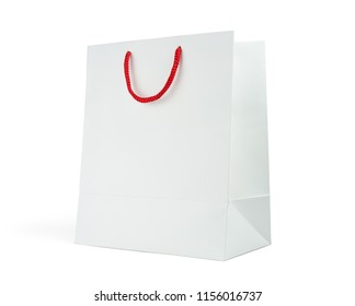 Mock-up of blank shopping bag with red handle rope on white background