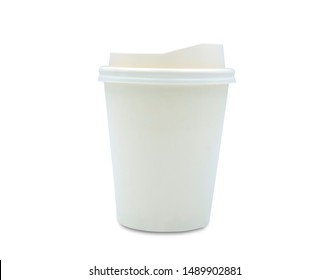 Mockup blank takeaway paper coffee cup isolated on white background with clipping path.