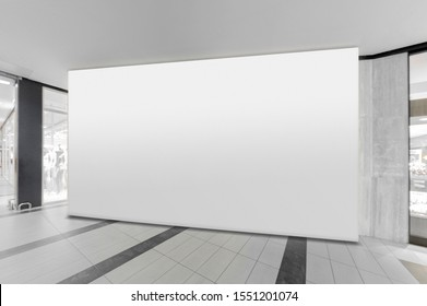 Mockup of blank white horizontal indoor advertising billboard at the storefront in shopping centre or mall