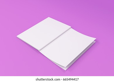 Mockup of blank white open brochure lying with cover upside on violet background. Magazine cover template. 3D rendering illustration
