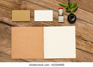 Mock-up. Brand identity template. Corporate Identity. Branding Mock Up Old Wood Texture Background
