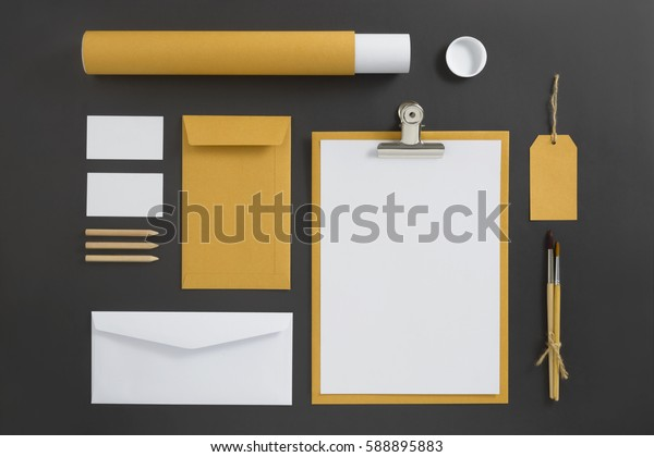 Mockup business brand template on gray background. Set of stationery