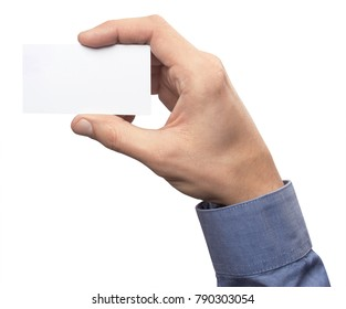 Mockup business card horizontal empty blank holds the man in his hand in shirt. Isolated on a white background