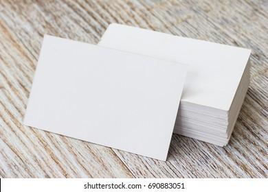 Mockup Business card on wood