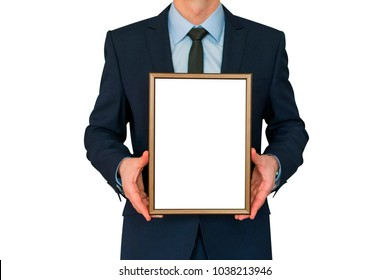 Mockup. Business man holding in hands empty blank photo frame.