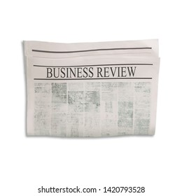 Mockup of Business Review newspaper blank with unreadable text and images. Isolated on white background. News paper with headline. Vintage old gray beige sepia grunge texture.