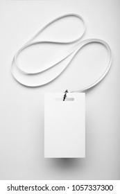 Mockup card badge, staff identity on white background.