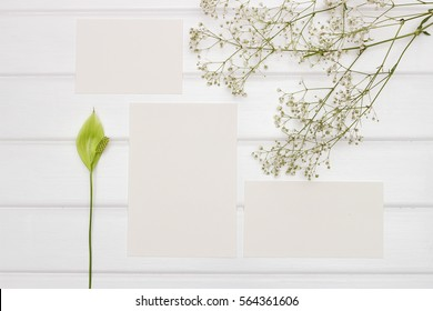 Mockup. Cards and flowers Spathiphyllum on a white table.
