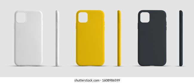 Mockup case for a mobile phone for advertising in an online store. Smartphone cover template for presentation design. Set of white, yellow and black container